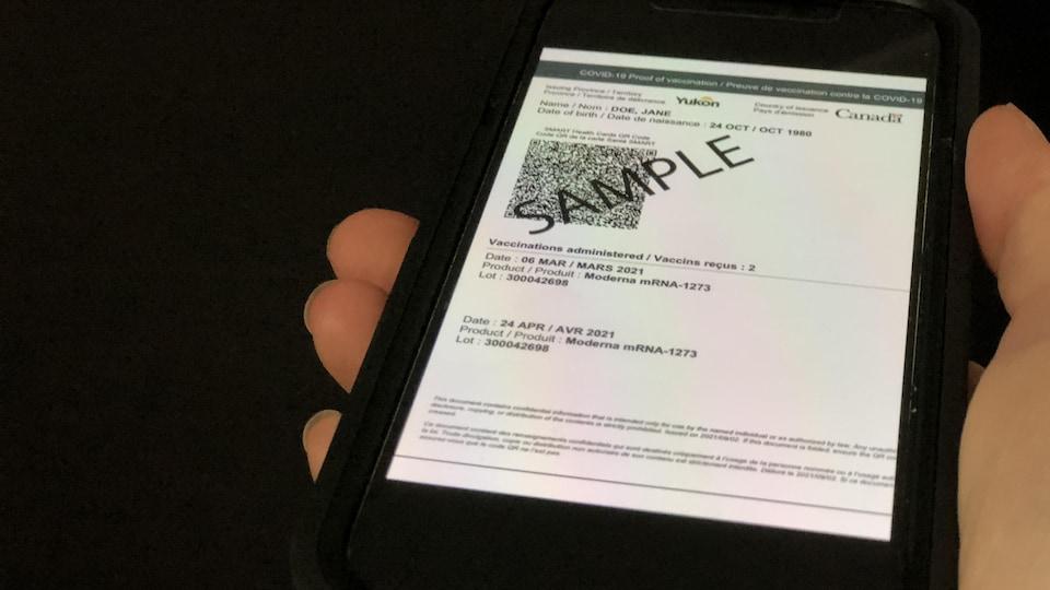 Un modèle de code QR du Yukon sur un mobile.