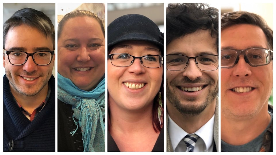 Les visages des cinq nouveaux commissaires dans un montage photo.