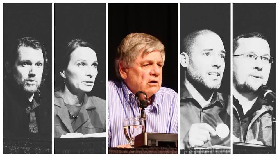Montage photo des cinq candidats.