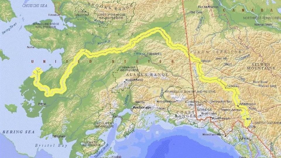 Carte géographique montrant une ligne le long d'un cours d'eau.