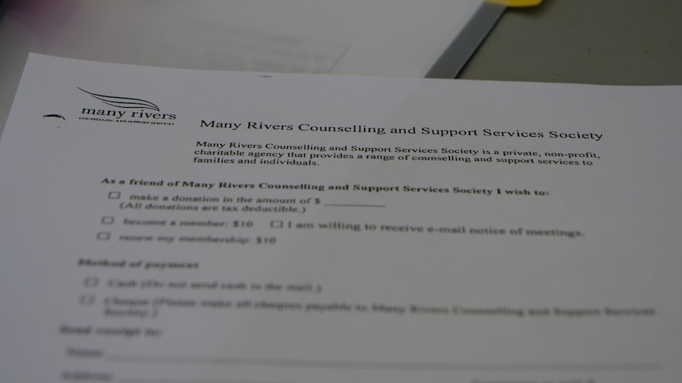 Un document en gros plan avec, pour titre : Manny Rivers Counselling and support services society.