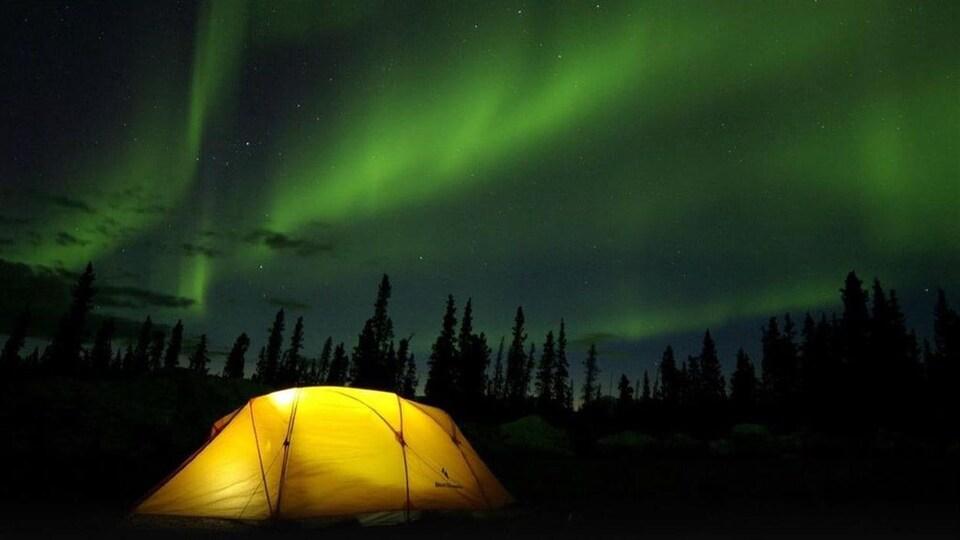 Des aurores boréales au-dessus d'une tente.