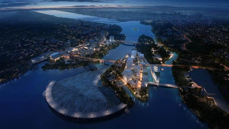 La photo prise à la brunante montre que le complexe est situé sur les Îles Chaudière et Albert, à Ottawa, et sur les berges gatinoises de la rivière des Outaouais.