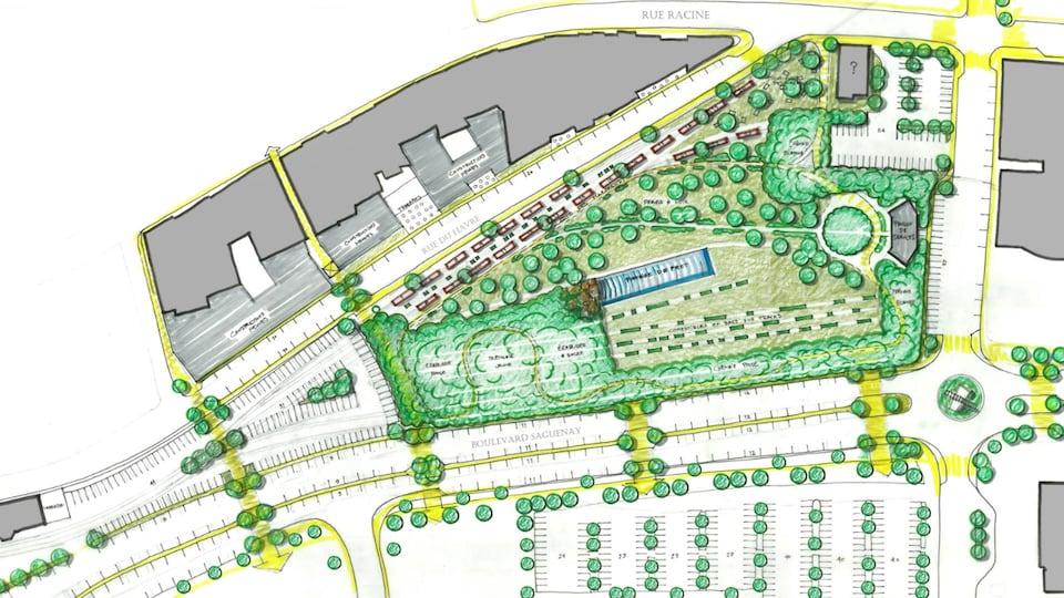 Les esquisses d'un parc avec des espaces de stationnement