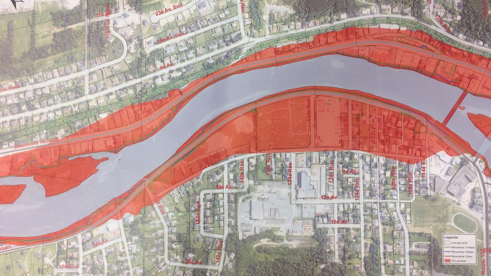 Carte de la zone inondable de Beauceville