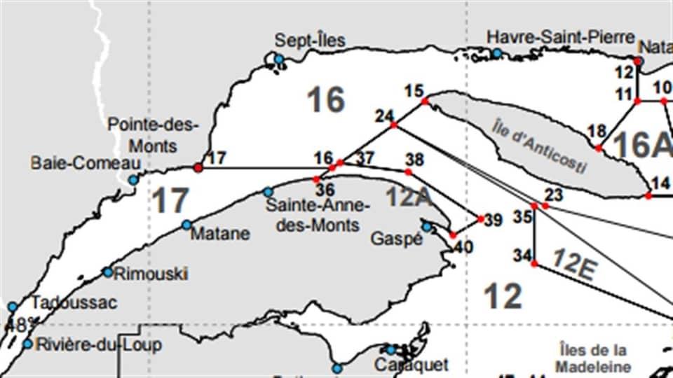 Carte des zones de pêche pour le crabe des neiges.