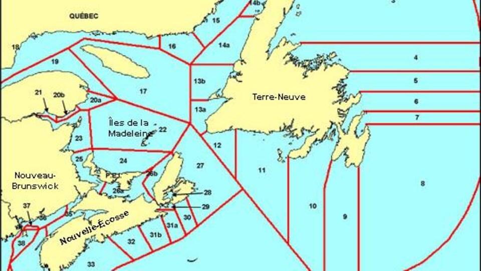 Une carte présentant les zones de pêche du homard dans les provinces de l'Atlantique.