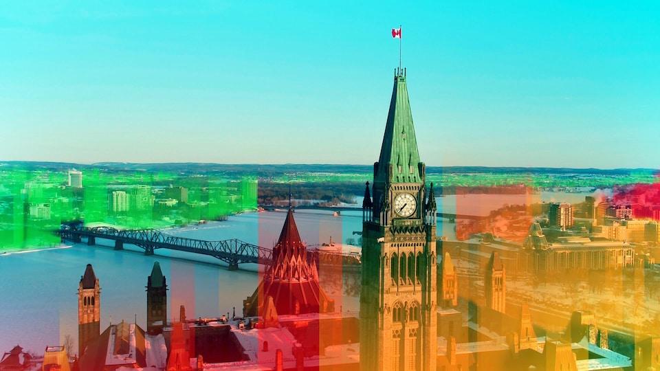 Montage photo de la colline du Parlement et de la rivière des Outaouais