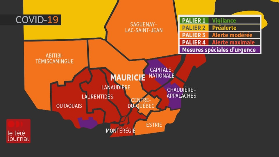 Carte représentant la région Mauricie-Centre-du-Québec qui est différente des autres régions du Sud du Québec.