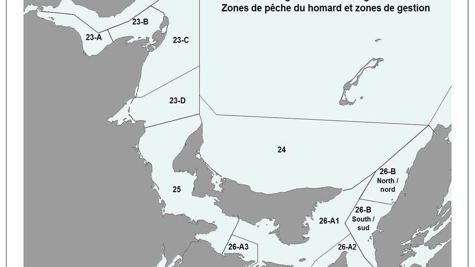 Carte des zones de pêche au homard.