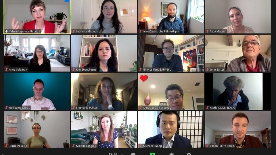 Photos de visages de participants à l'événement MT180 sur Zoom