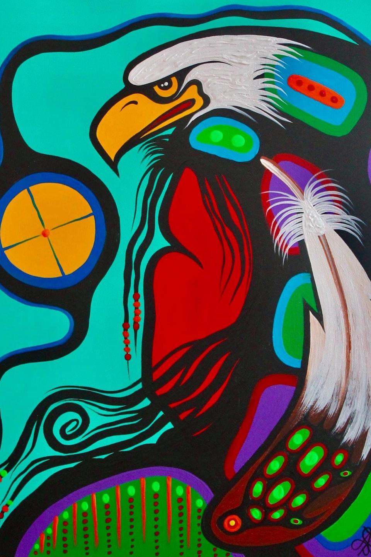 Un aigle et une plume.