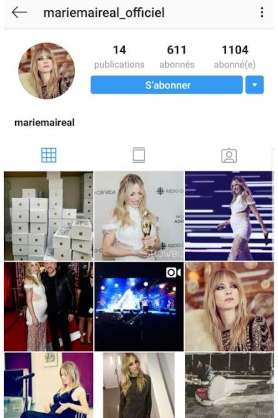 Aperçu d'un faux profil de Marie-Mai sur Instagram.