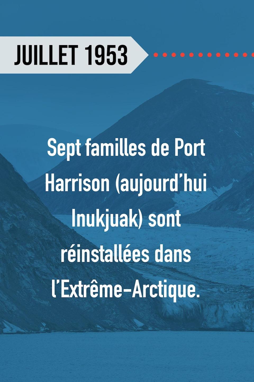 Juillet 1953 : Sept familles de Port Harrison (aujourd'hui Inukjuak) sont réinstallées dans l'Extrême-Arctique.