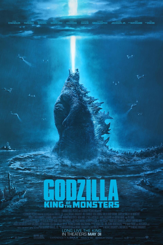 On voit Godzilla qui crache du feu vers le ciel.