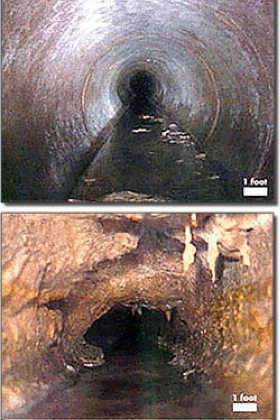 Dans l'image d'en bas, les parois de la canalisation ne sont plus visibles. Le diamètre de la canalisation est réduit à cause de la graisse qui recouvre les parois.