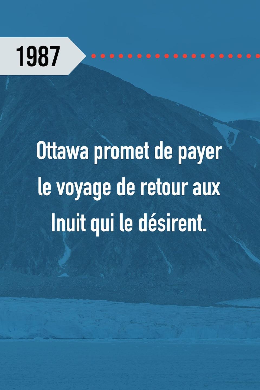 1987 : Ottawa promet de payer le voyage de retour aux Inuit qui le désirent.