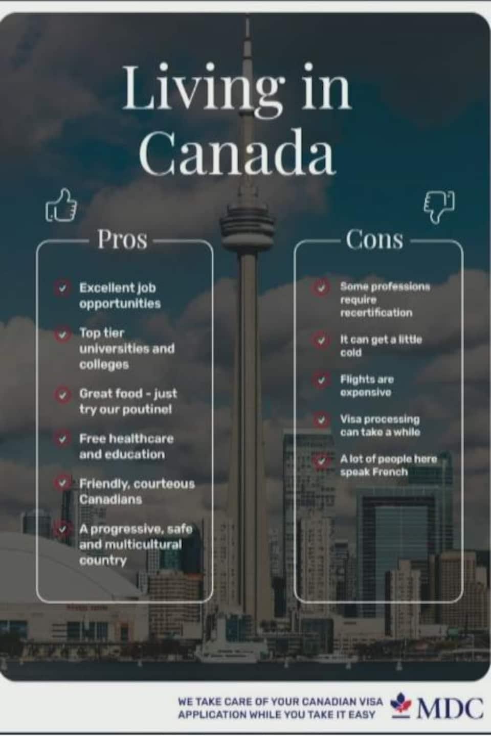Une affiche avec des listes de pour et contre pour immigrer au Canada.