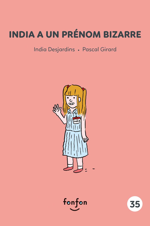 Un dessin illustrant une fillette portant un autocollant sur lequel il est écrit «India».