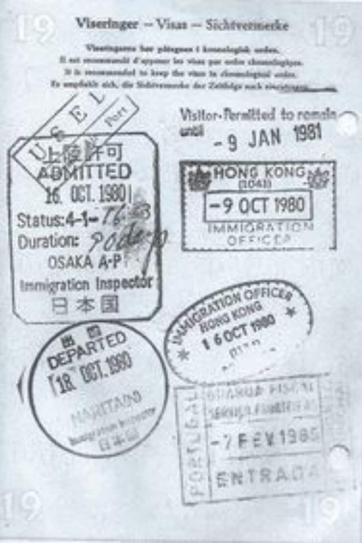 Une page du passeport de Jonna Laursen sur laquelle sont estampillés des timbres d'entrée-sortie.