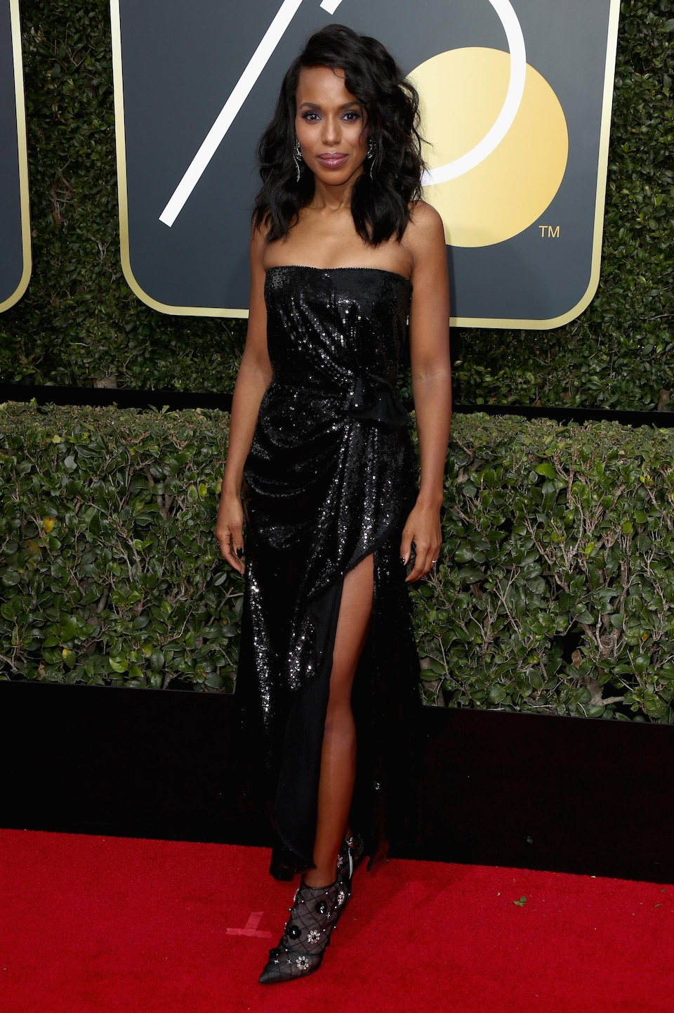 L'actrice Kerry Washington sur le tapis rouge des Golden Globes