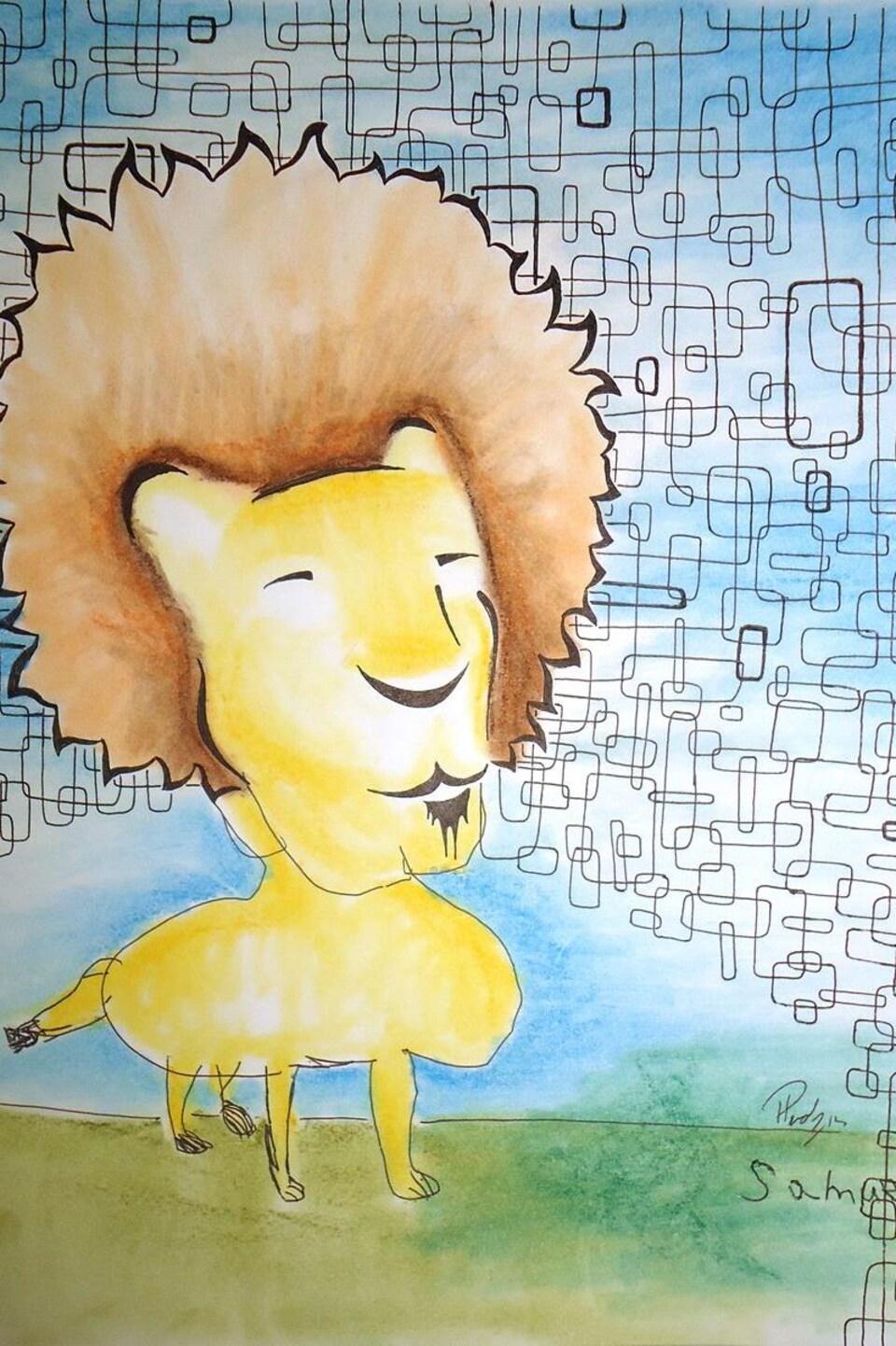 Dessin d'un lion à l'encre et au pastel