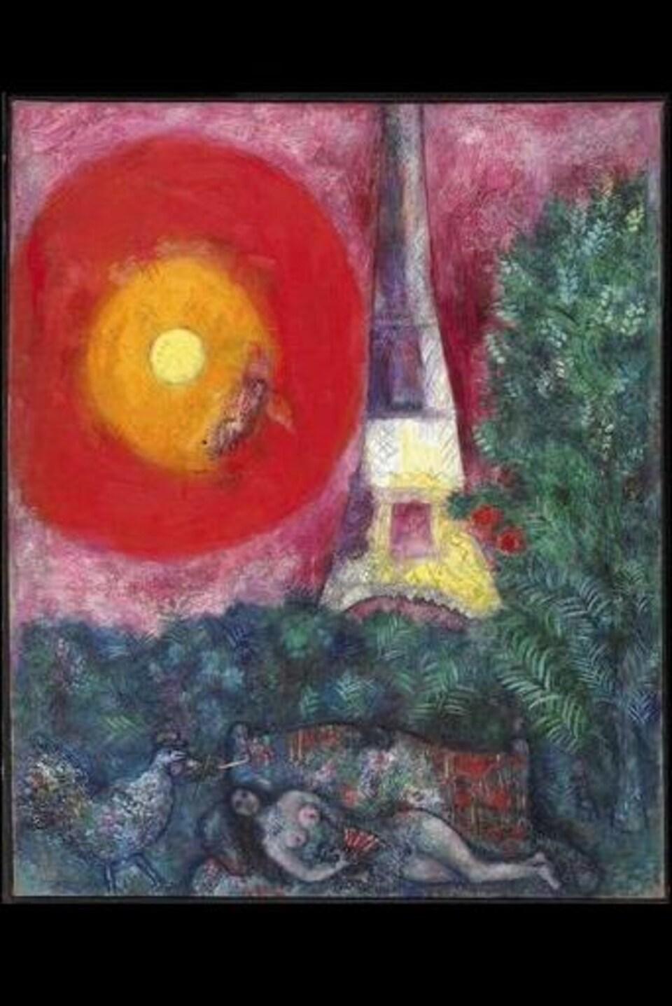 L'ouevre La Tour Eiffel de Marc Chagall