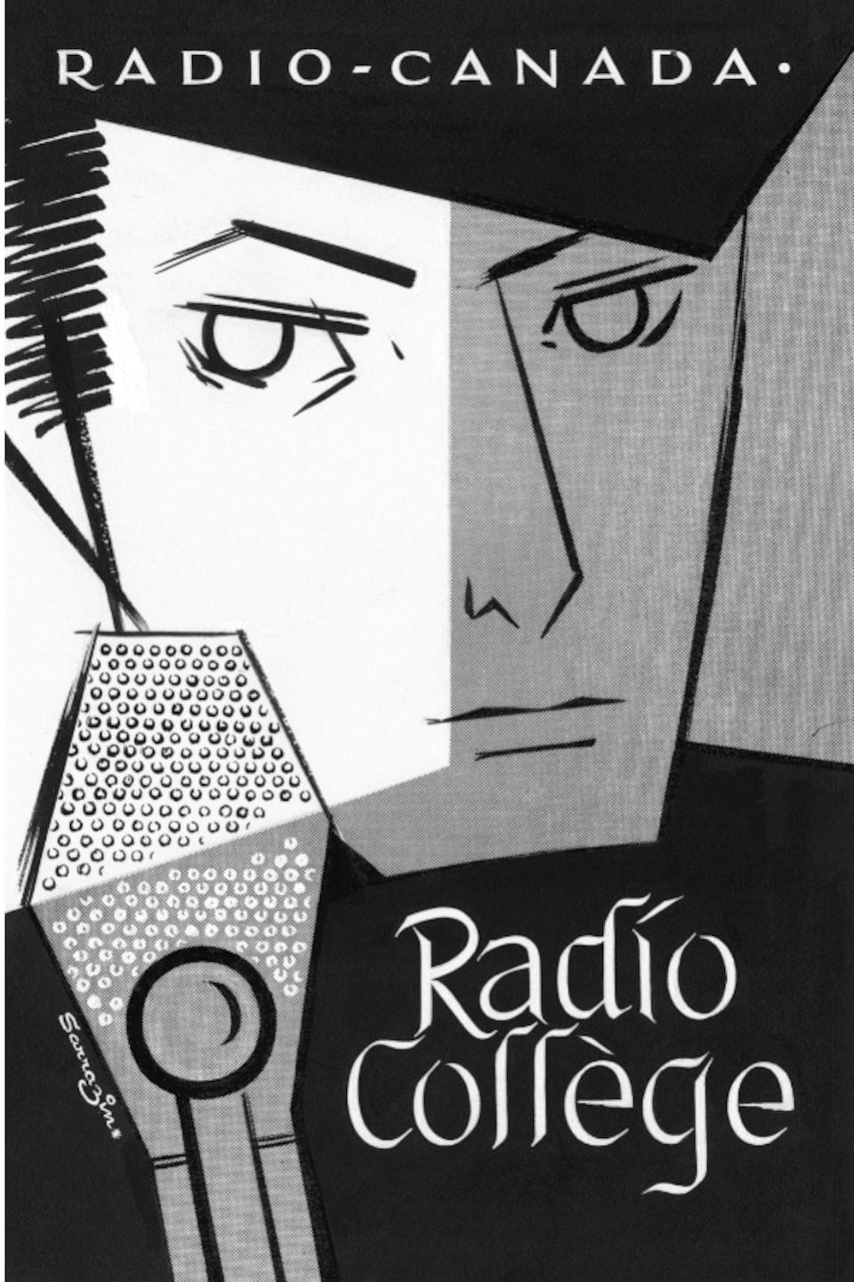 Affiche publicitaire dessin d'un homme derrière un micro, inscription Radio-Collège écrit dans le bas de l'affiche.