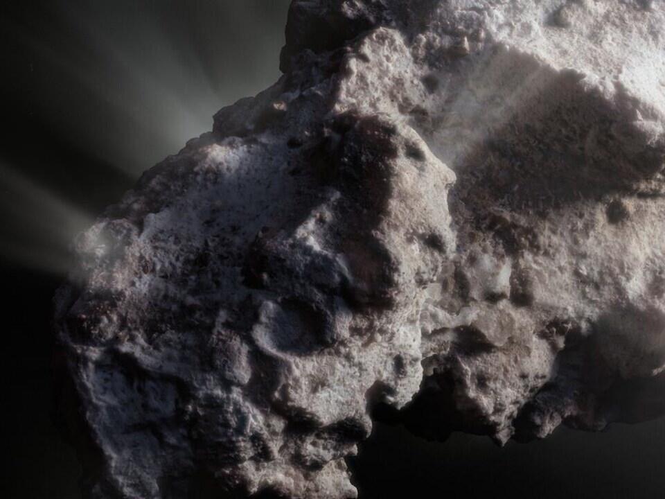 Représentation artistique de la surface de la comète interstellaire 2I/Borisov dont l'apparence ressemble à une roche poreuse.