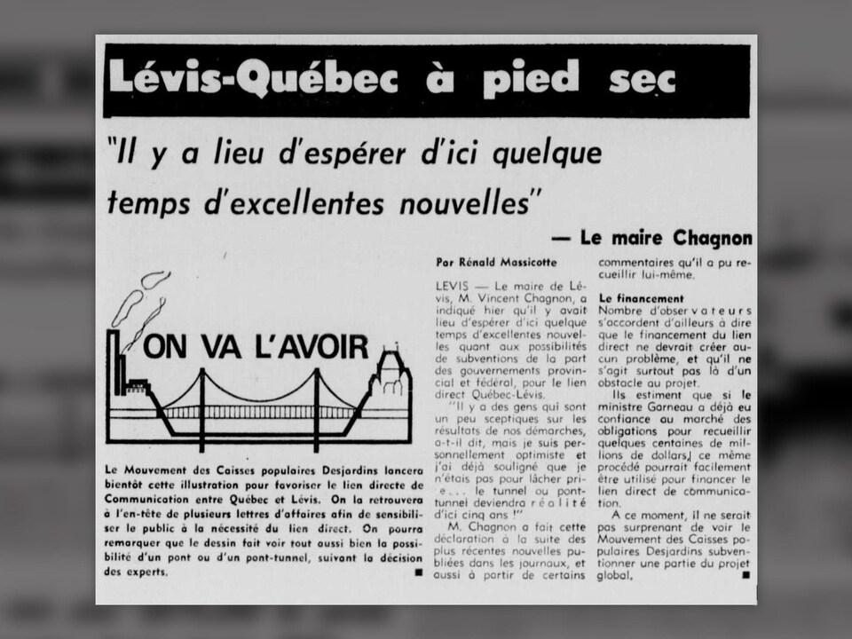 Coupure de journal, où on peut y lire le titre « Lévis-Québec à pied sec » ainsi que le logo et slogan « On va l'avoir ».