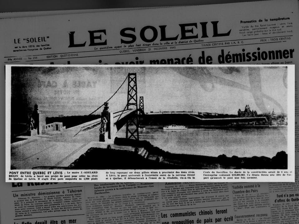 La une du journal Le Soleil le vendredi 21 décembre 1945. On y lie « D. MacArthur nie avoir menacé de démissionner ».