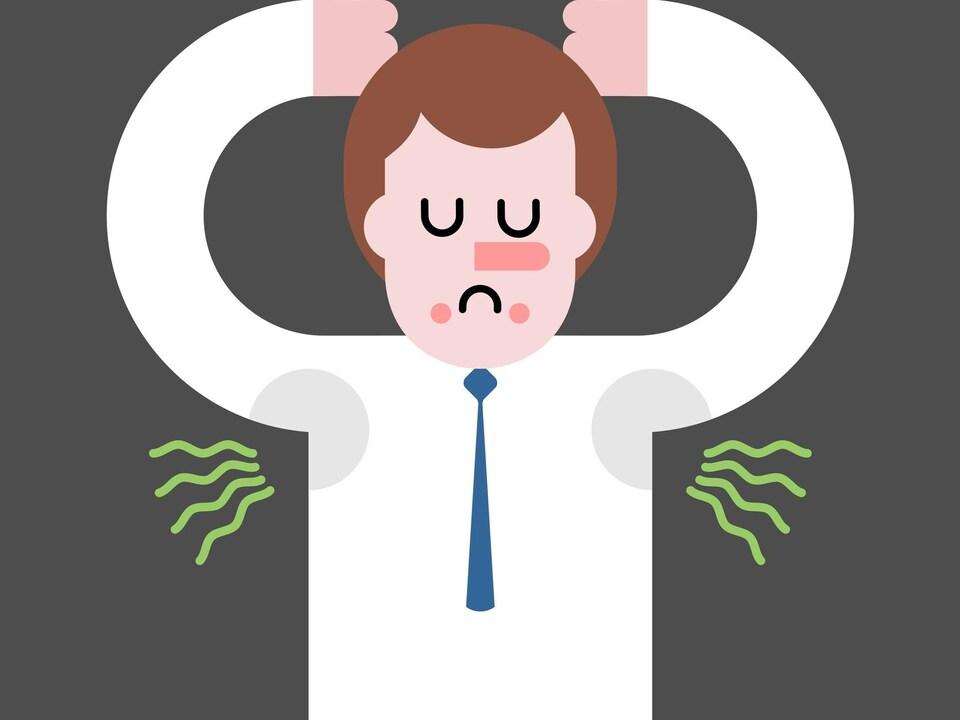 Illustration d'un homme qui sent ses aisselles.