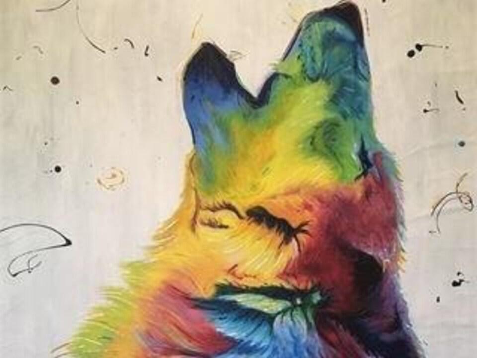 Peinture du profil d'un loup, coloré de multiples couleurs.