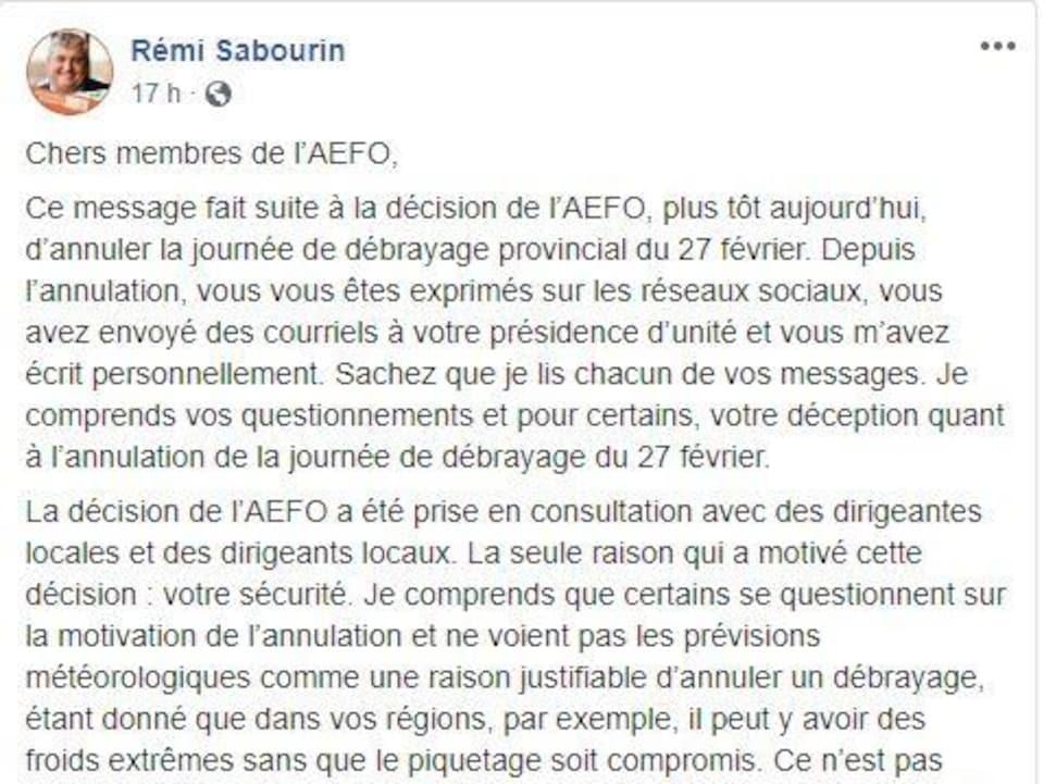 Un extrait du message de M. Sabourin.