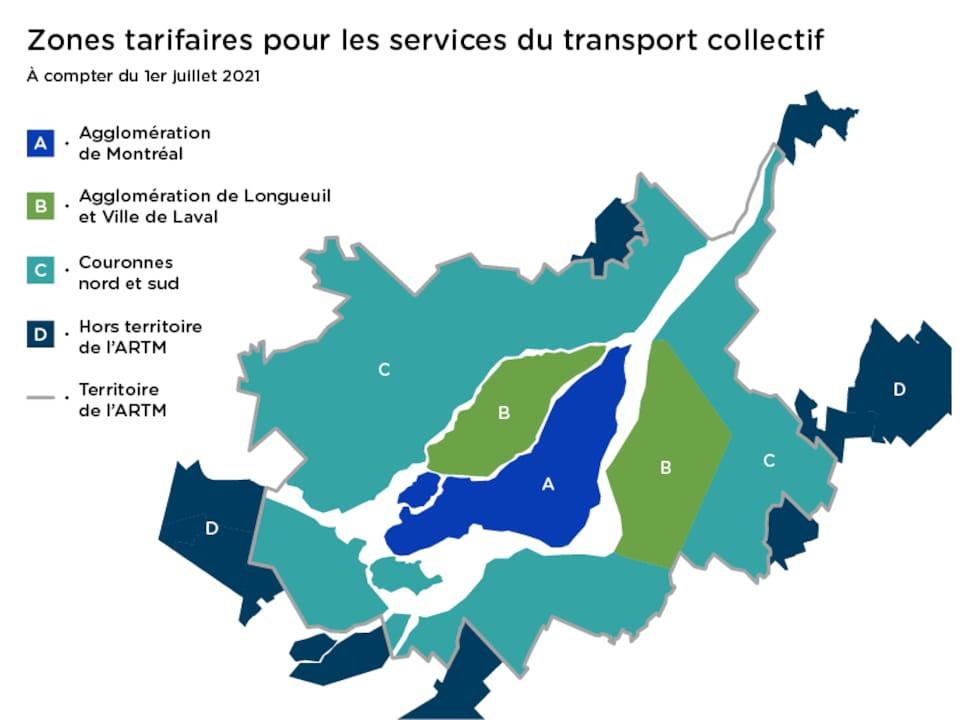 Carte de la région de Montréal.
