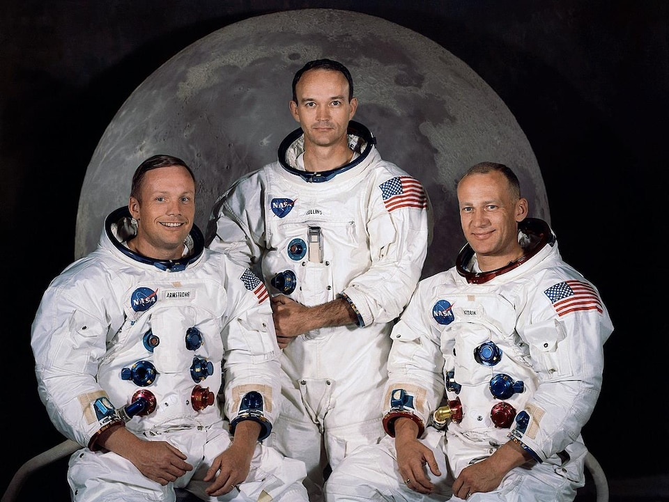 Photo des astronautes de la mission Apollo 11.