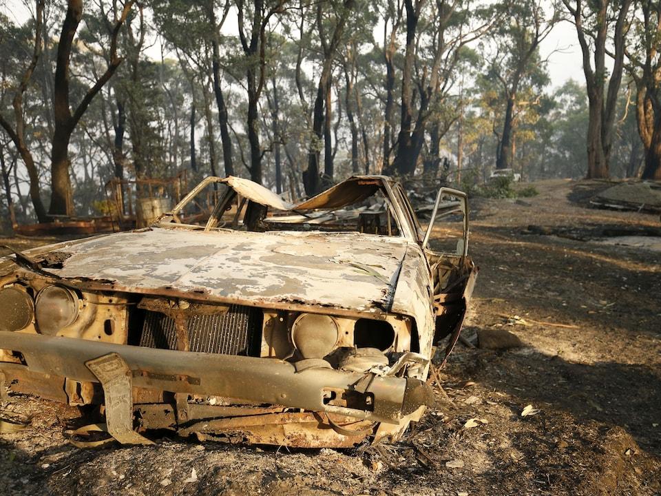 Les restes d'une voiture incendiée sur un terrain bordé d'arbres en Australie.