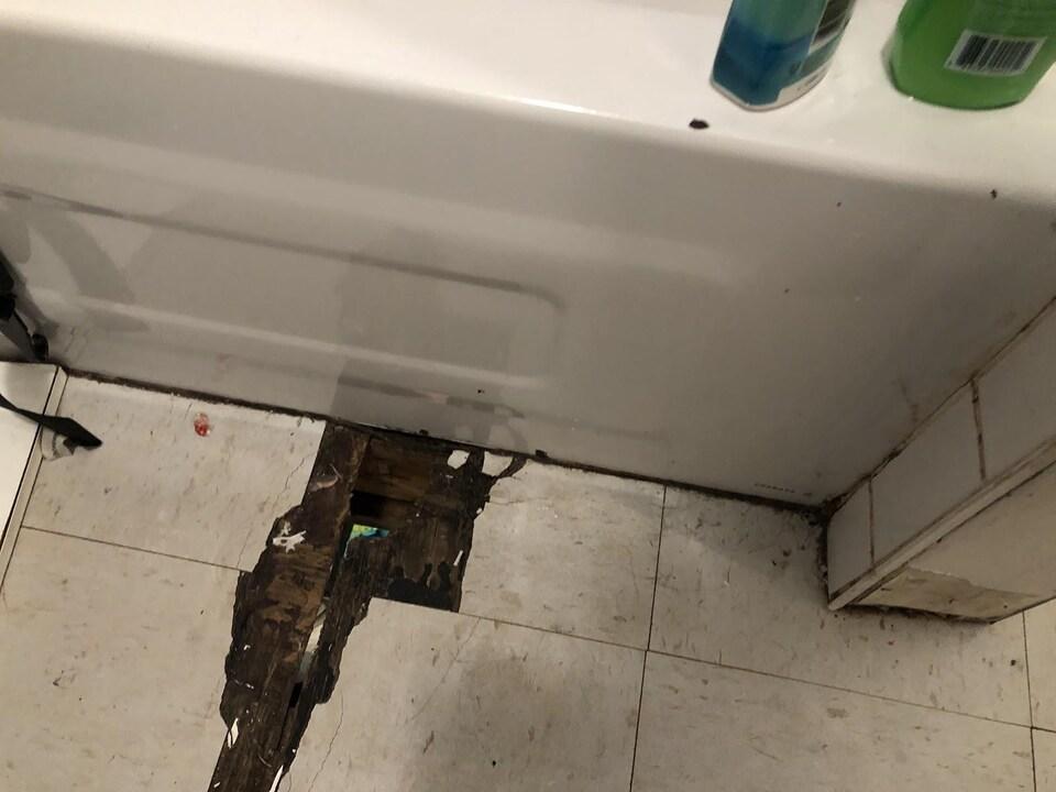 Le plancher troué de la salle de bain.