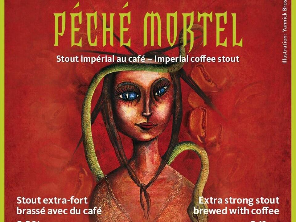 L'étiquette de la bière Péché Mortel, où on voit le dessin du visage d'une femme aux grands yeux et autour de laquelle glisse un serpent vert.