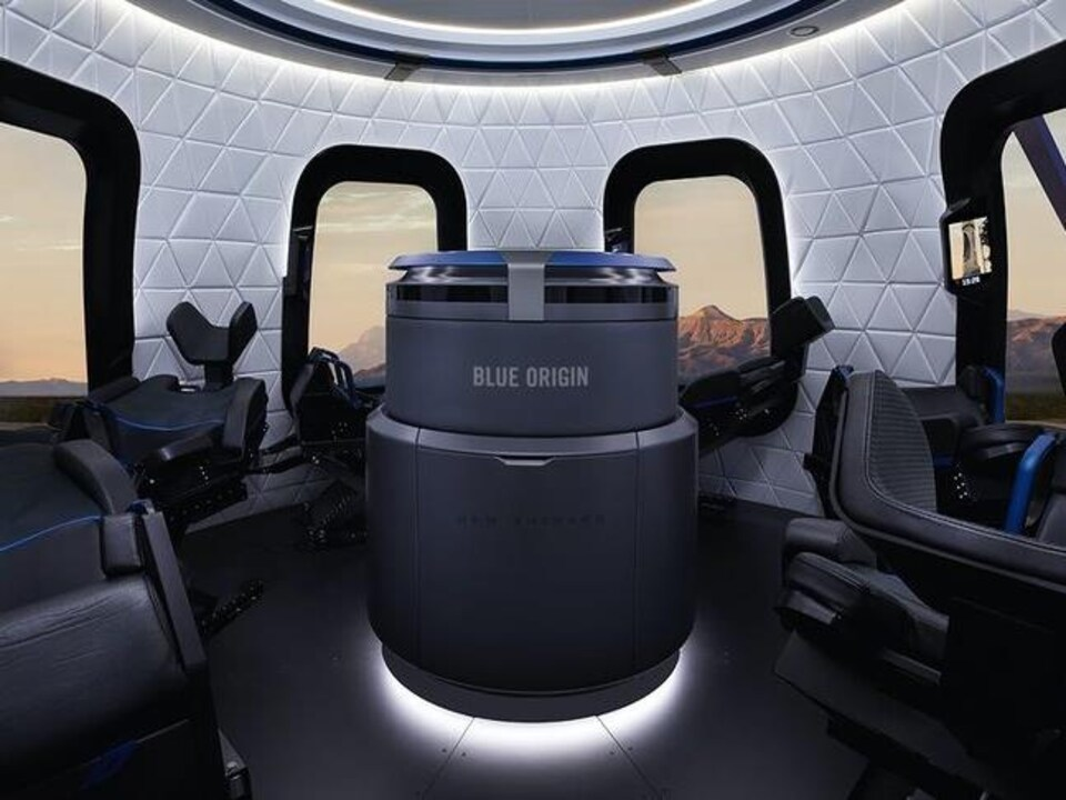 L'intérieur de la capsule New Shepard.