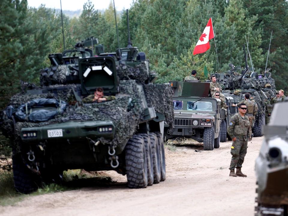 Des véhicules militaires transportent des soldats canadiens.