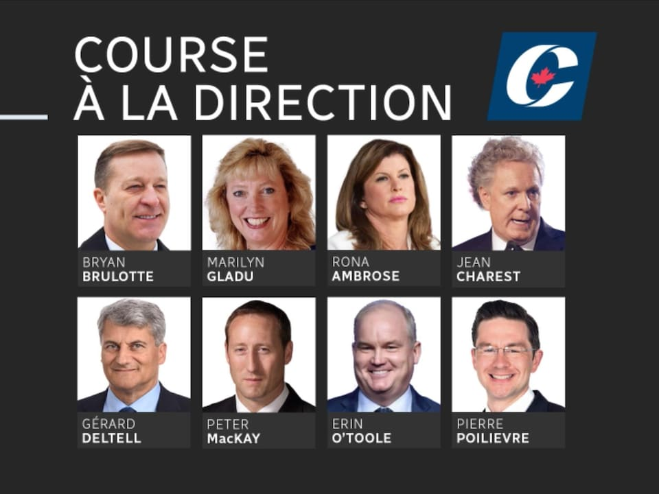 Photomontage de certains candidats potentiels à la direction du Parti conservateur.