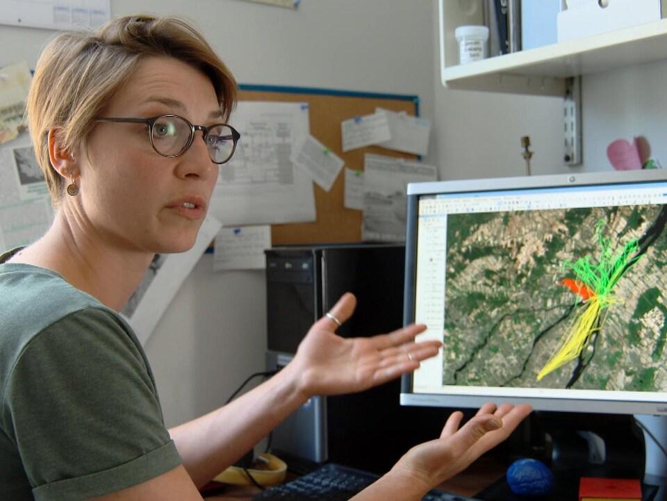 Manon Sorais montre sur l'écran d'ordinateur le parcours de trois goélands au nord-est de l'île de Montréal, chacun étant identifié par une couleur différente : jaune, rouge et vert.