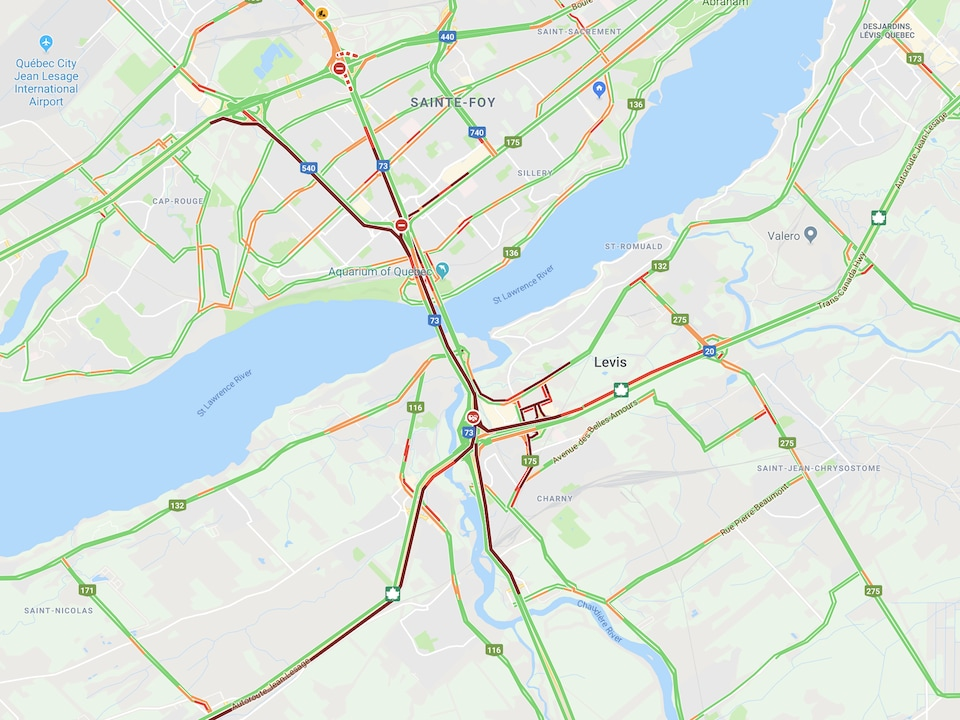 Capture d'écran de la congestion selon Google Maps.