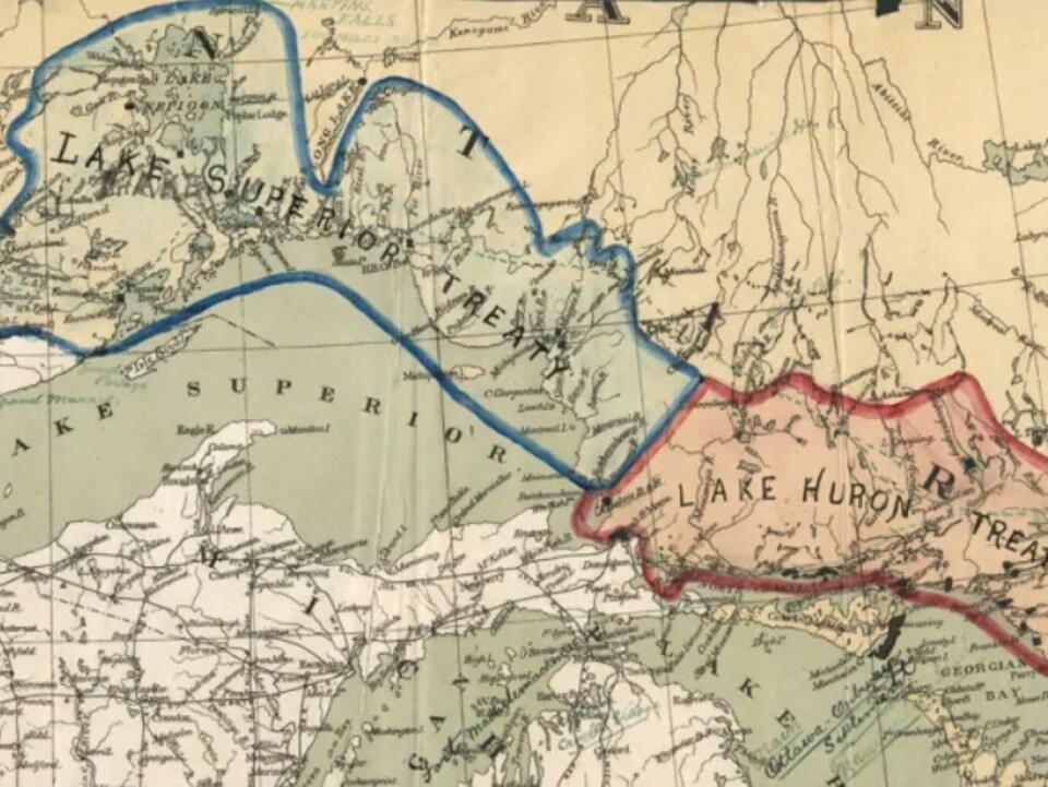 Une carte montrant les terres cédées dans le cadre des traités Robinson-Supérieur et Robinson-Huron