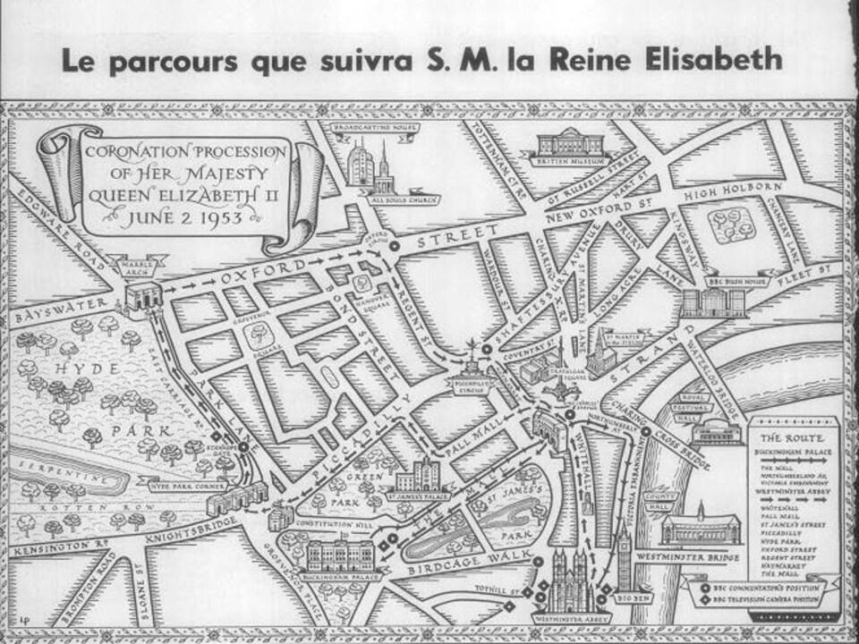 Carte dessinée du centre-ville de Londres montrant le trajet suivi par le cortège royal. La carte illustre un article du magazine hebdomadaire La Semaine à Radio-Canada.