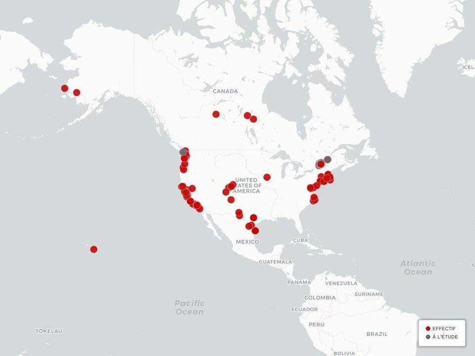 Carte des États-Unis.
