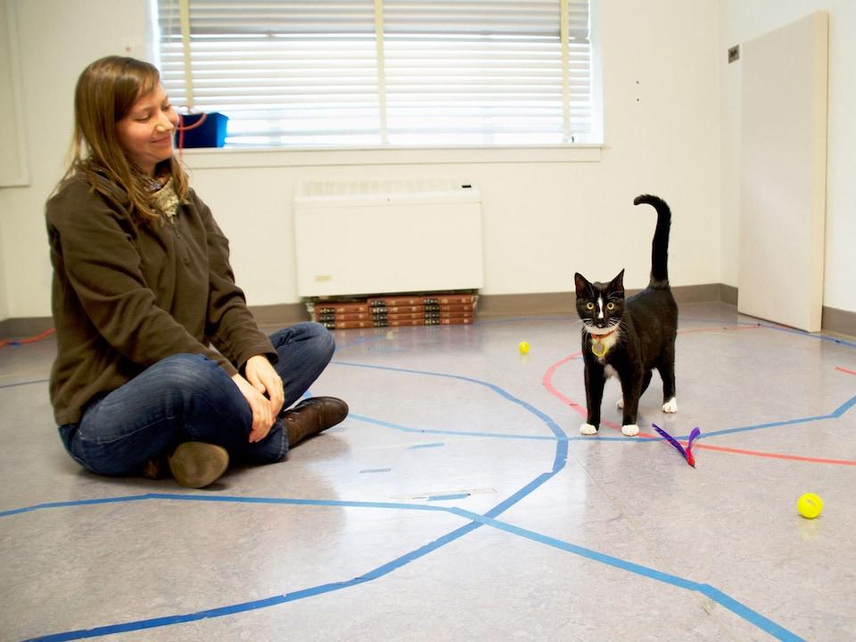 Un chat et son gardien.