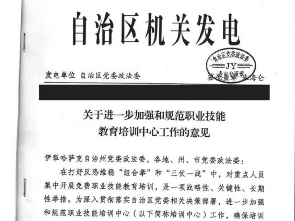Une capture d'écran montre la première page d'un document rédigé en mandarin.
