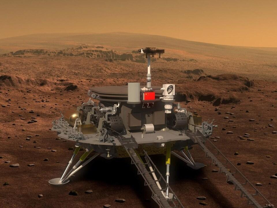 Représentation artistique de la sonde Tianwen-1 à la surface de la planète Mars.
